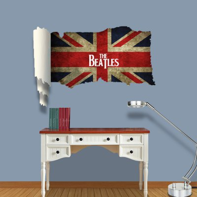 ФОТО The Beatles on British Flag Pattern Home Appliances Decoration 3D Wall Sticker