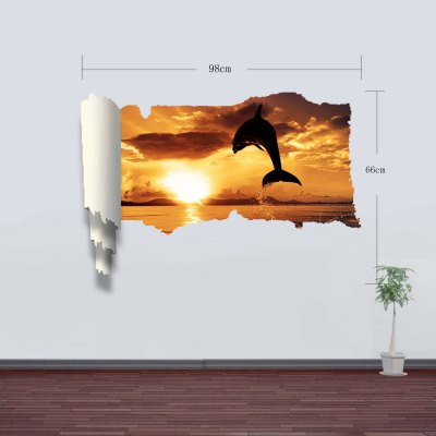 Фотография Dolphin Swim Pattern Home Appliances Decoration 3D Wall Sticker