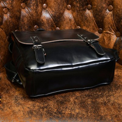 Фотография Retro Style Solid Color and PU Leather Design Men