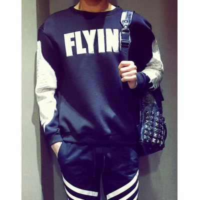 Гаджет   Loose-Fitting Round Neck Letters and Wing Print Long Sleeves Men