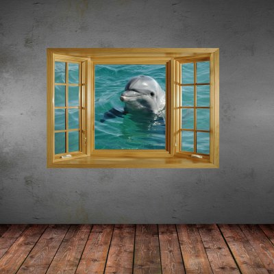 ФОТО Dolphin Pattern Home Appliances Decoration 3D Wall Sticker