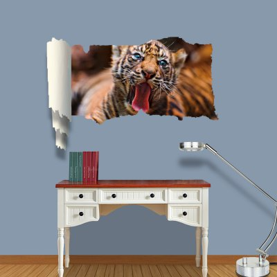 Vinyl Material 3D Wall Sticker Decal with Tiger Style for Home