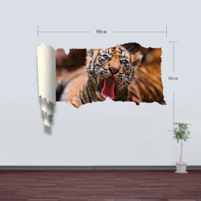 Фотография Vinyl Material 3D Wall Sticker Decal with Tiger Style for Home