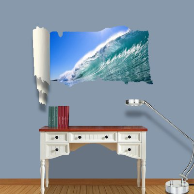 Wave Style 3D Wall Sticker Decal with Vinyl Material for Bedroom