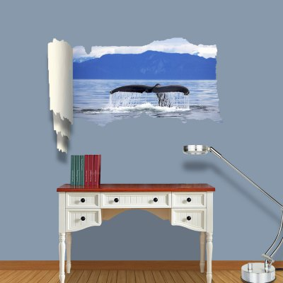 Vinyl Material 3D Wall Sticker Decal with Marine Organism for Bedroom Living Room