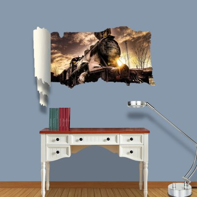 Фотография Vintage Steam Train Design 3D Wall Sticker Decal with Vinyl Material for Bedroom