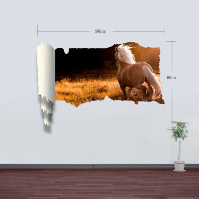 Фотография Landscape Runing Horse Style 3D Wall Sticker Decal with Vinyl Material for Bedroom