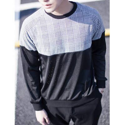 Гаджет   Trendy Round Neck Houndstooth Print Slimming Mesh Splicing Long Sleeves Men