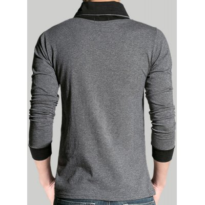 ФОТО Novel Button Embellished Irregular V-Neck Slimming Color Block Long Sleeves Men