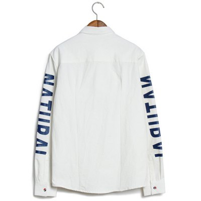 Гаджет   Slimming Colorful Button Turn-down Collar Letters and Figure Print Long Sleeves Men