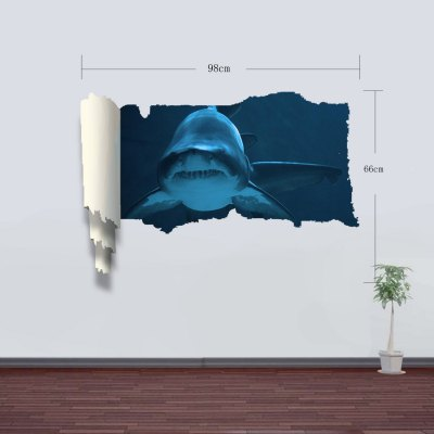 Фотография Shark Pattern Home Appliances Decoration 3D Wall Sticker