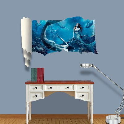 ФОТО Picture of Mermaid Pattern Home Appliances Decoration 3D Wall Sticker
