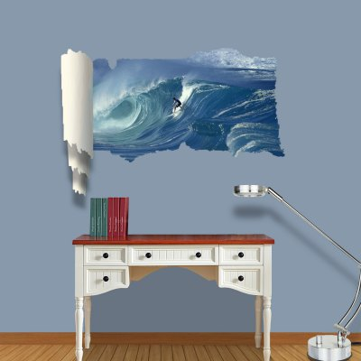 ФОТО Cool Surfing Pattern Home Appliances Decoration 3D Wall Sticker
