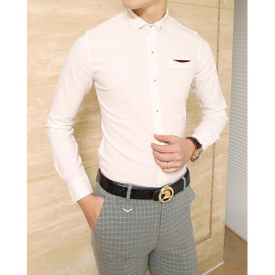 Гаджет   Slimming Turn-down Collar Rivets and Breast Pocket Embellished Long Sleeves Men
