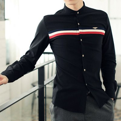 ФОТО Stylish Shirt Collar Slimming Color Block Stripes Metal Design Long Sleeve Polyester Shirt For Men