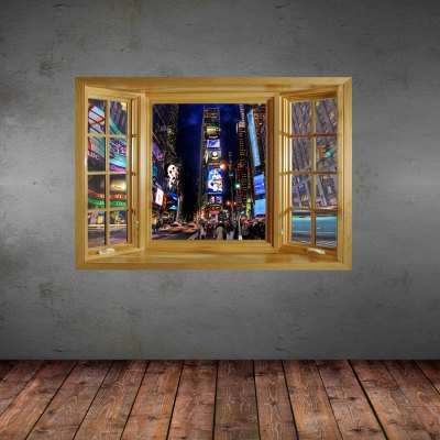ФОТО City At Night Pattern Home Appliances Decoration 3D Wall Sticker