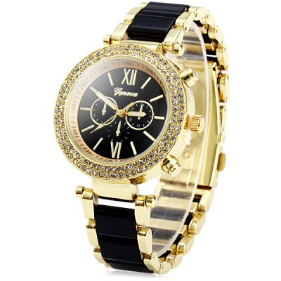 Geneva Analog Unisex Quartz Watch Diamond Bezel Steel + Plastic Band Round Dial