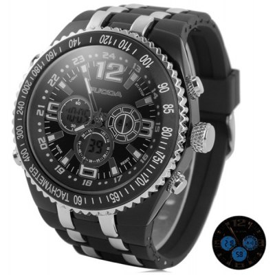 Sports Watches with Double - movt Blue LED Round Dial and Silicon Band