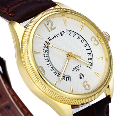 Фотография Rosivga 820 Fashional Male Quartz Watch Date Display Leather Strap