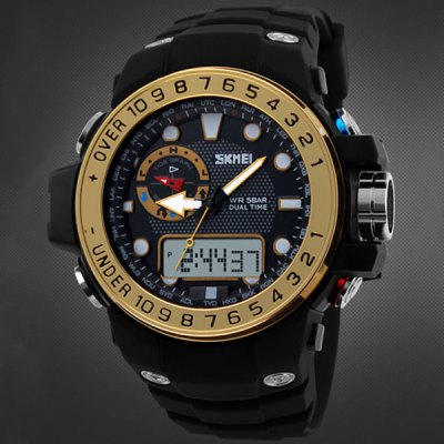 Гаджет   Skmei 1063 Water Resistant Double Movt Sports Watch with Big Dial Rubber Band Sports Watches