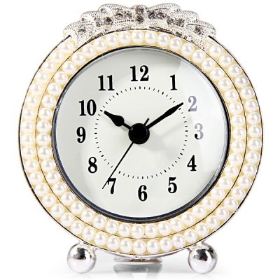 Round Face Desk Table Clock with Elegant Beads