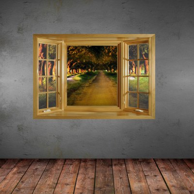 ФОТО Lane in Forest Pattern Home Appliances Decoration 3D Wall Sticker