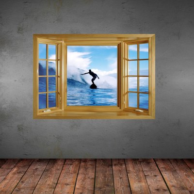 ФОТО Big Surfing Pattern Home Appliances Decoration 3D Wall Sticker