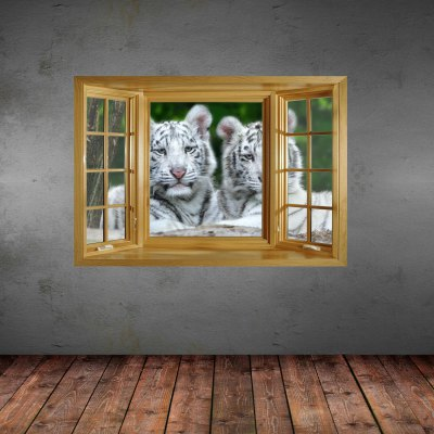 ФОТО White Tiger Pattern Home Appliances Decoration 3D Wall Sticker
