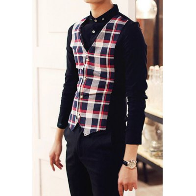 Гаджет   Stylish Shirt Collar Slimming Faux Twinset Plaid Splicing Long Sleeve Polyester Shirt For Men Shirts