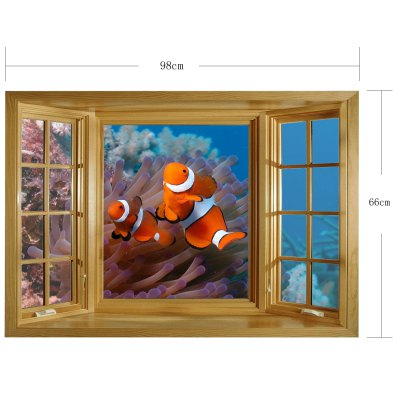 Фотография Clownfish Pattern Home Appliances Decoration 3D Wall Sticker