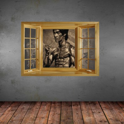 ФОТО Kung Fu Star Bruce Lee Pattern Home Appliances Decoration 3D Wall Sticker