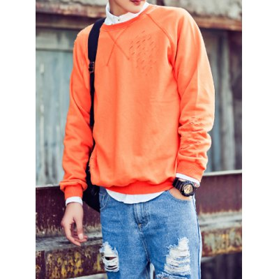 Гаджет   Laconic Round Neck Hollow Out Design Loose Fit Solid Color Long Sleeves Men