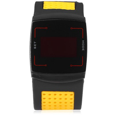 LED Sports Watch Date Function Touch Screen WristwatchLED Watches<br>LED Sports Watch Date Function Touch Screen Wristwatch<br><br>People: Unisex table<br>Watch style: Fashion&amp;Casual, Outdoor Sports, LED<br>Available color: Yellow<br>Shape of the dial: Rectangle<br>Movement type: Digital watch<br>Display type: Digital<br>Case material: Metal<br>Band material: Rubber<br>Clasp type: Pin buckle<br>Special features: Alarm clock, Day<br>Water Resistance: Life water resistant<br>The dial thickness: 1.1 cm / 0.43 inches<br>The dial diameter: 3.8 cm / 1.49 inches<br>The band width: 3.2 cm / 1.26 inches<br>Product weight: 0.077 kg<br>Package weight: 0.127 kg<br>Product size (L x W x H) : 25 x 3.8 x 1.1 cm / 9.83 x 1.49 x 0.43 inches<br>Package size (L x W x H): 26 x 4.8 x 2.2 cm / 10.22 x 1.89 x 0.86 inches<br>Package contents: 1 x LED Watch