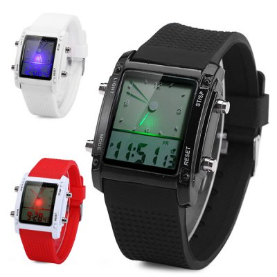 Double Time LED Sports Watch Date Day Function Wristwatch