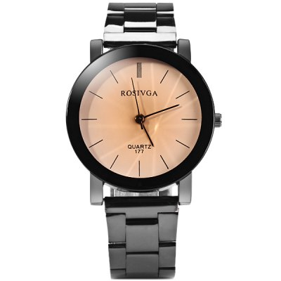ФОТО Rosivga 177 Delicate Stainless Steel Band Men Quartz Watch with Stripes Display Round Dial