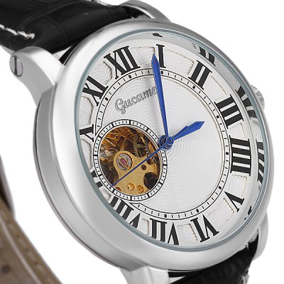 Фотография Gucamel G032 Analog Mechanical Watch with Hollow - out Design Leather Band for Men
