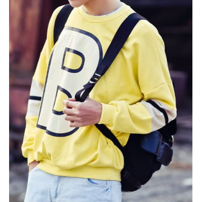 Гаджет   Loose-Fitting Letters Print Round Neck Solid Color Long Sleeves Men