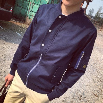 Гаджет   Novel Zipper Fly Slimming Exquisite Pocket and Button Embellished Long Sleeves Men