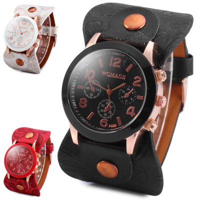 Гаджет   WoMaGe A595 Non - functioning Sub - dial Women Quartz Watch Flower Leather Band Women