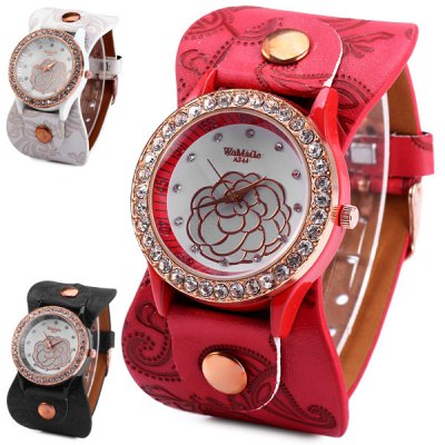 WoMaGe A744 Diamond Bezel Women Quartz Watch Flower Pattern Leather BandWomens Watches<br>WoMaGe A744 Diamond Bezel Women Quartz Watch Flower Pattern Leather Band<br><br>Brand: WoMaGe<br>Watches categories: Female table<br>Available color: White, Red, Black<br>Style : Diamond, Fashion&amp;Casual<br>Movement type: Quartz watch<br>Shape of the dial: Round<br>Display type: Analog<br>Case material: Stainless steel<br>Band material: Leather<br>Clasp type: Pin buckle<br>The dial thickness: 0.8 cm / 0.31 inches<br>The dial diameter: 3.8 cm / 1.49 inches<br>Product weight: 0.038 kg<br>Package weight: 0.088 kg<br>Product size (L x W x H) : 24 x 3.8 x 0.8 cm / 9.43 x 1.49 x 0.31 inches<br>Package size (L x W x H): 25 x 4.8 x 1.8 cm / 9.83 x 1.89 x 0.71 inches<br>Package contents: 1 x WoMaGe A744 Watch