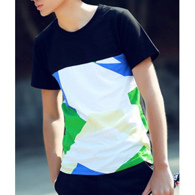 Здесь можно купить   Colorful Geometric Pattern Splicing Round Neck Slimming Short Sleeves Men