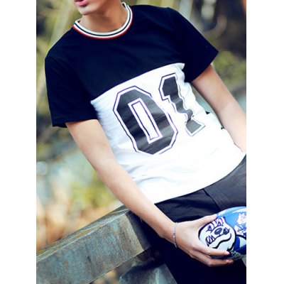 Гаджет   Stylish Stripes Round Neck Number Print Slimming Color Block Short Sleeves Men