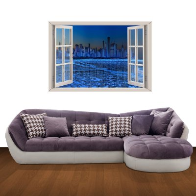 City Lights Pattern Home Appliances Decoration 3D Wall Sticker