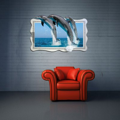 Dolphins Pattern Home Appliances Decoration 3D Wall Sticker