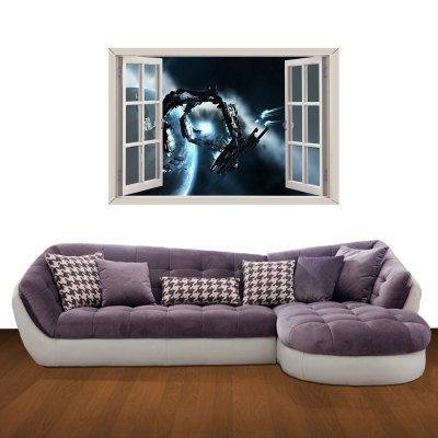 ФОТО Space Transportation Pattern Home Appliances Decoration 3D Wall Sticker