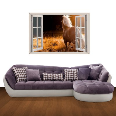 ФОТО Whitehorse Pattern Home Appliances Decoration 3D Wall Sticker