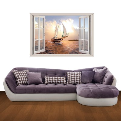 ФОТО 3D Wall Stickers Sea Sailing Style Wall Decals Home Appliances Decor