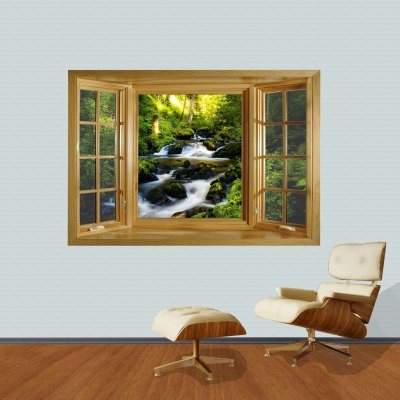 Landscape Brook 3D Wall Sticker with Vinyl Material for Living Room