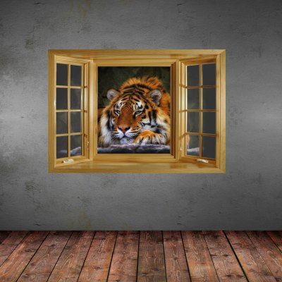 Tiger Style 3D Wall Sticker with Vinyl Material for Living RoomWall Stickers<br>Tiger Style 3D Wall Sticker with Vinyl Material for Living Room<br><br>Subjects: Landscape, Animal<br>Art Style: Plane Wall Stickers<br>Sizes: Others<br>Color Scheme: Multicolor<br>Functions: Decorative Wall Stickers<br>Hang In/Stick On: Offices, Kids Room, Cafes, Hotels, Living Rooms, Toilet, Bedrooms, Stair, Nurseries, Lobby<br>Product Type: Art Print<br>Product weight   : 0.150 kg<br>Package weight   : 0.370 kg<br>Product size (L x W x H)   : 66 x 98 x 0.3 cm / 25.94 x 38.51 x 0.12 inches<br>Package size (L x W x H)  : 68 x 5.9 x 5.9 cm / 26.72 x 2.32 x 2.32 inches<br>Package Contents: 1 x Wall Sticker