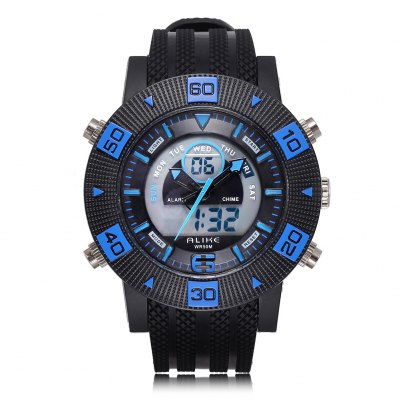 ALIKE Fashion Style Big Dial Digital Display Alloy Case Men Sports Quartz Watch